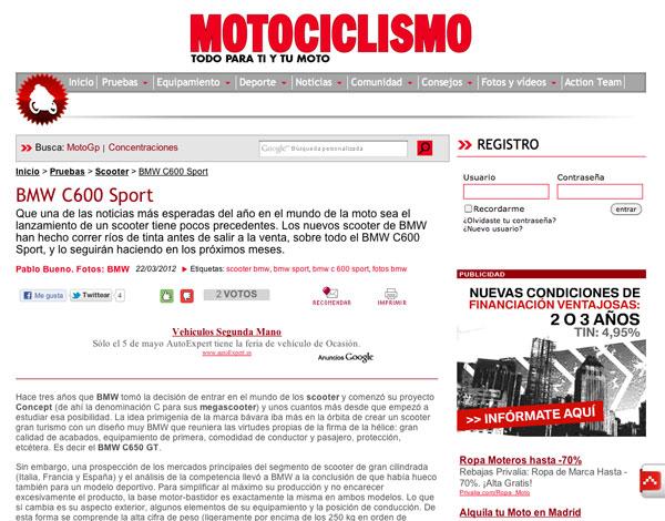 BMW C 600 Sport y C 650 GT opniones Mociclismo web