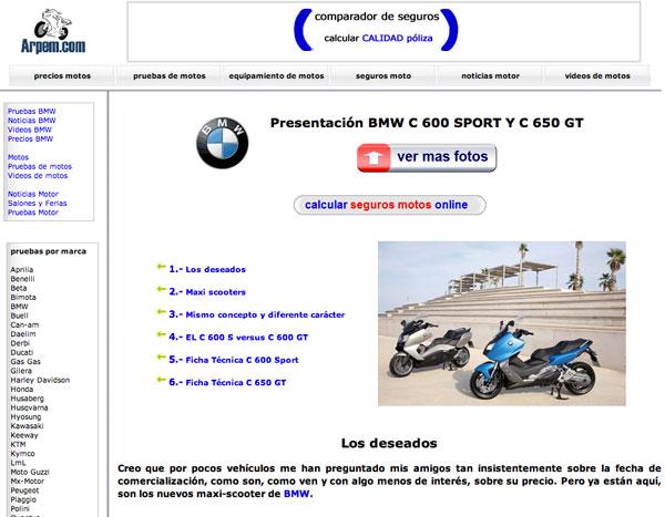 BMW C 600 Sport y C 650 GT opniones Arpem web