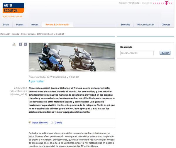 BMW C 600 Sport y C 650 GT opniones Autoscout 24 web