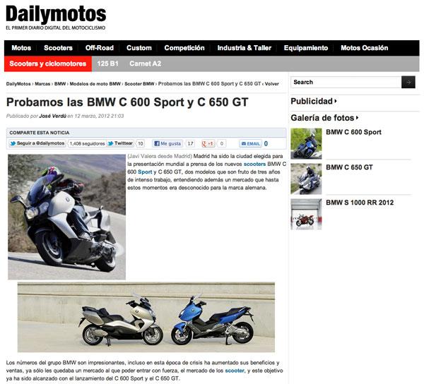 BMW C 600 Sport y C 650 GT opniones DailyMotos web
